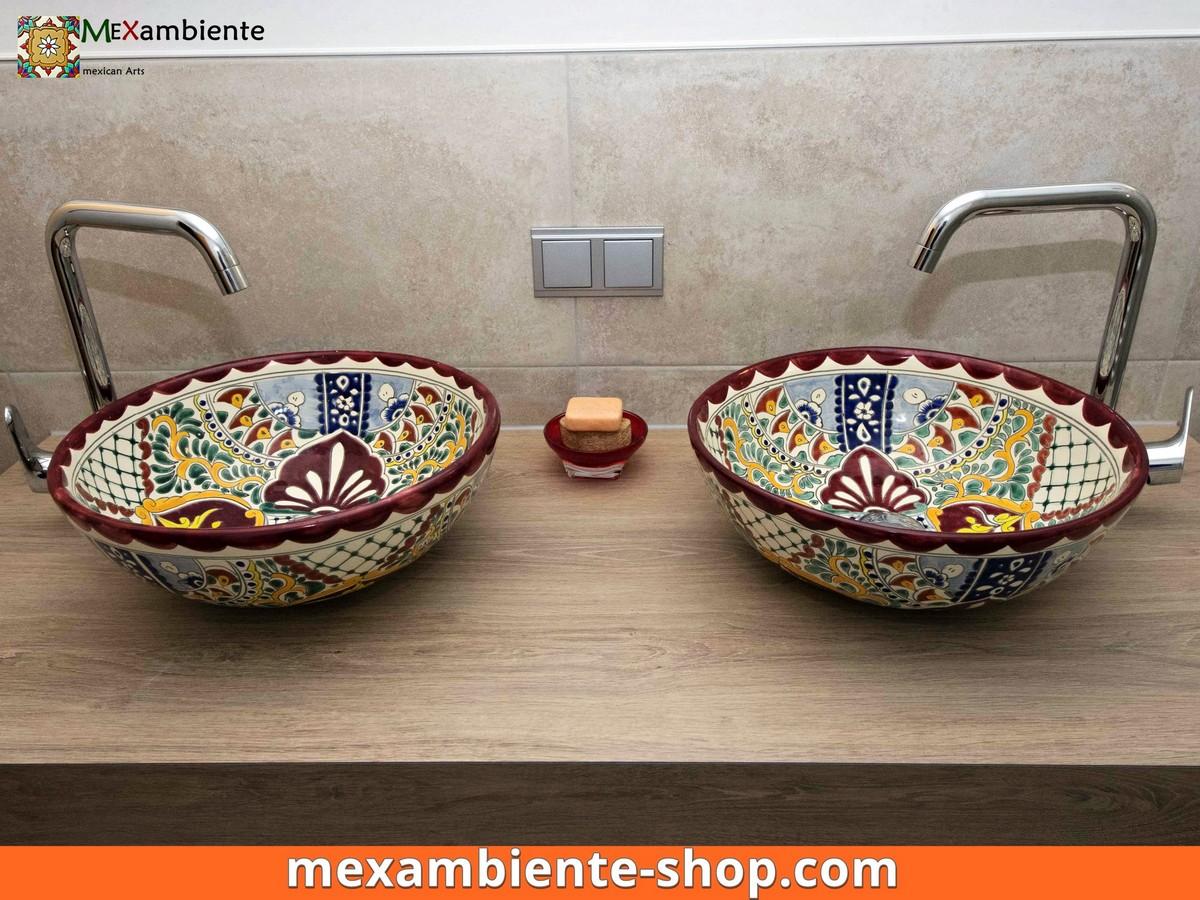 <p>Doppelwaschtisch Aufsatzwaschbecken von Mexambiente aus mexikanischer Keramik. Hier das Modell MEX3 Alegria in rund</p>