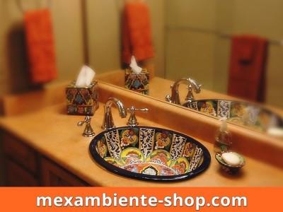<p>Design Waschbecken Fantasia per Hand bemalt. Mexambiente Einbauwaschbecken aus mexikanischer Keramik 100% Talavera Kunsthandwerk original aus Mexiko</p>