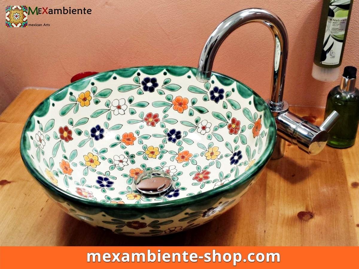 <p>Landhausstil Waschbecken MEX3 Floral von Mexambiente, handbemaltes Unikat</p>
