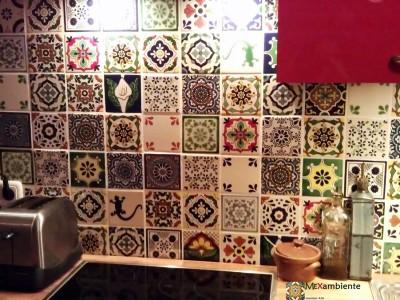 <p>Fliesenspiegel in der Küche mit Patchwork-Mustern mit unseren Premium Mexiko Fliesen (11&#215;11 cm)</p>