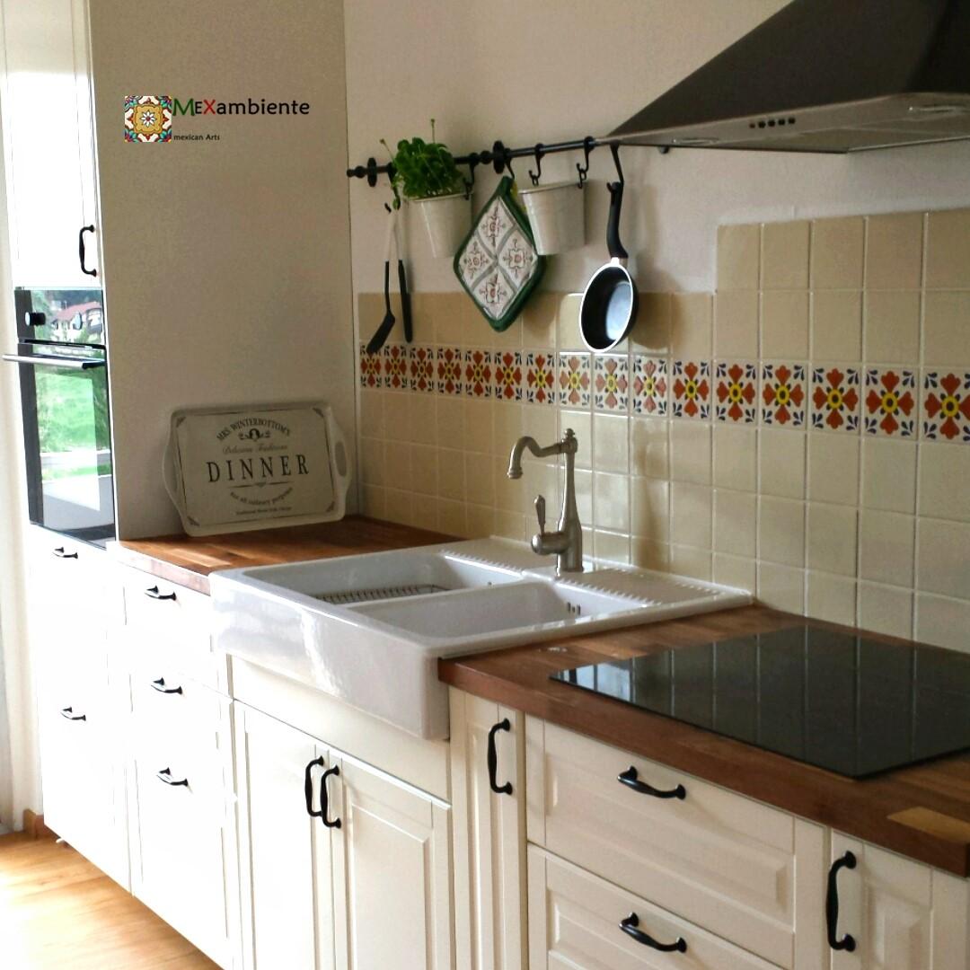 Landhausküche IKEA mit Mexambiente Fliesen :: MEXAMBIENTE