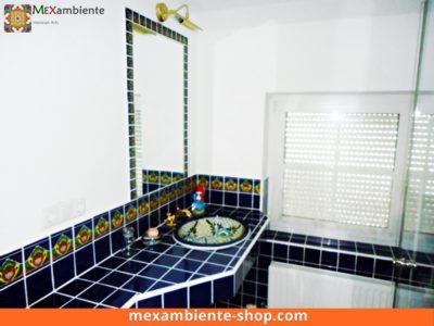 <p>Blaue Mexikanische Fliesen & Waschbecken im Bad. Hier ein Bespiel mit Premium Mexambiente Fliesen 11×11 in Kobaltblau + Dekorfliesen als Bordüre und ein Einbauwaschbecken</p>