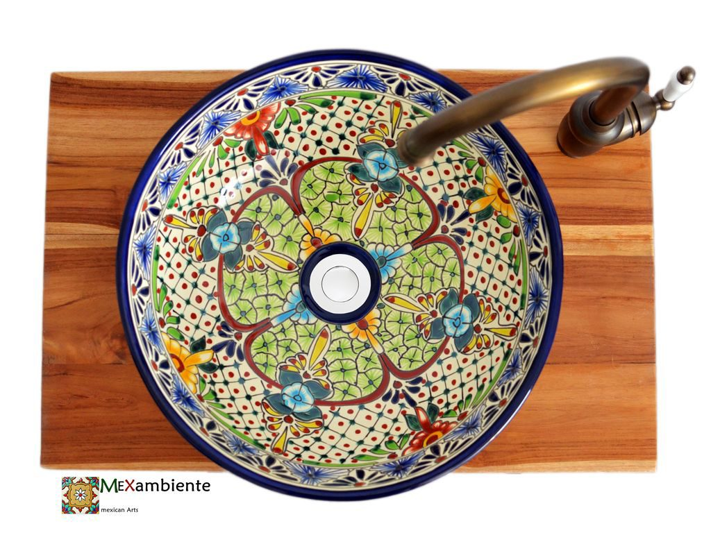 mexikanisches waschbecken buntes muster