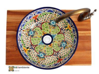 <p>Mexikanisches Waschbecken Aventura bunt bemalt aus Keramik Modell MEX3 Aventura bei Mexambiente in Deutschland bestellbar</p>