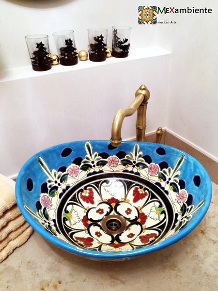 Aufsatzwaschbecken gäste wc oval  Schöne mexikanische Waschbecken für Ihr Gäste-WC ::