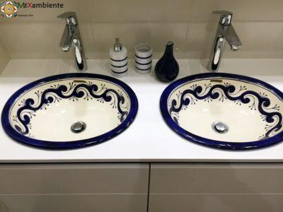 <p>Handbemalte Waschbecken mit schlichtem Muster aus Mexiko Modell: OLA AZUL von Mexambiente</p>